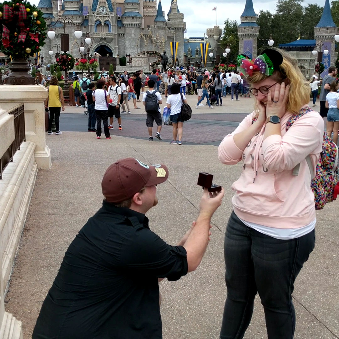 Kevin proposing to Emily at Disney World