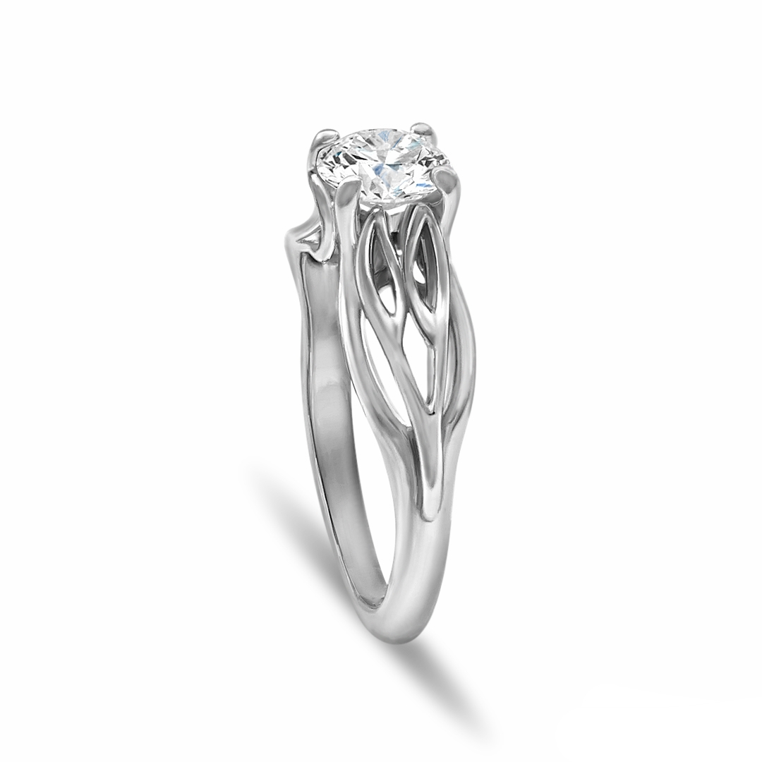 Custom solitaire engagement ring in 14K white gold and a 0.80 ct. round diamond center stone
