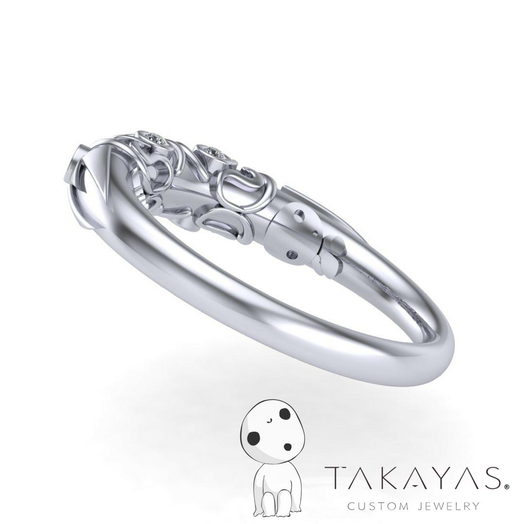 Princess Mononoke Inspired Wedding Ring designed by Takayas of Takayas Custom Jewelry