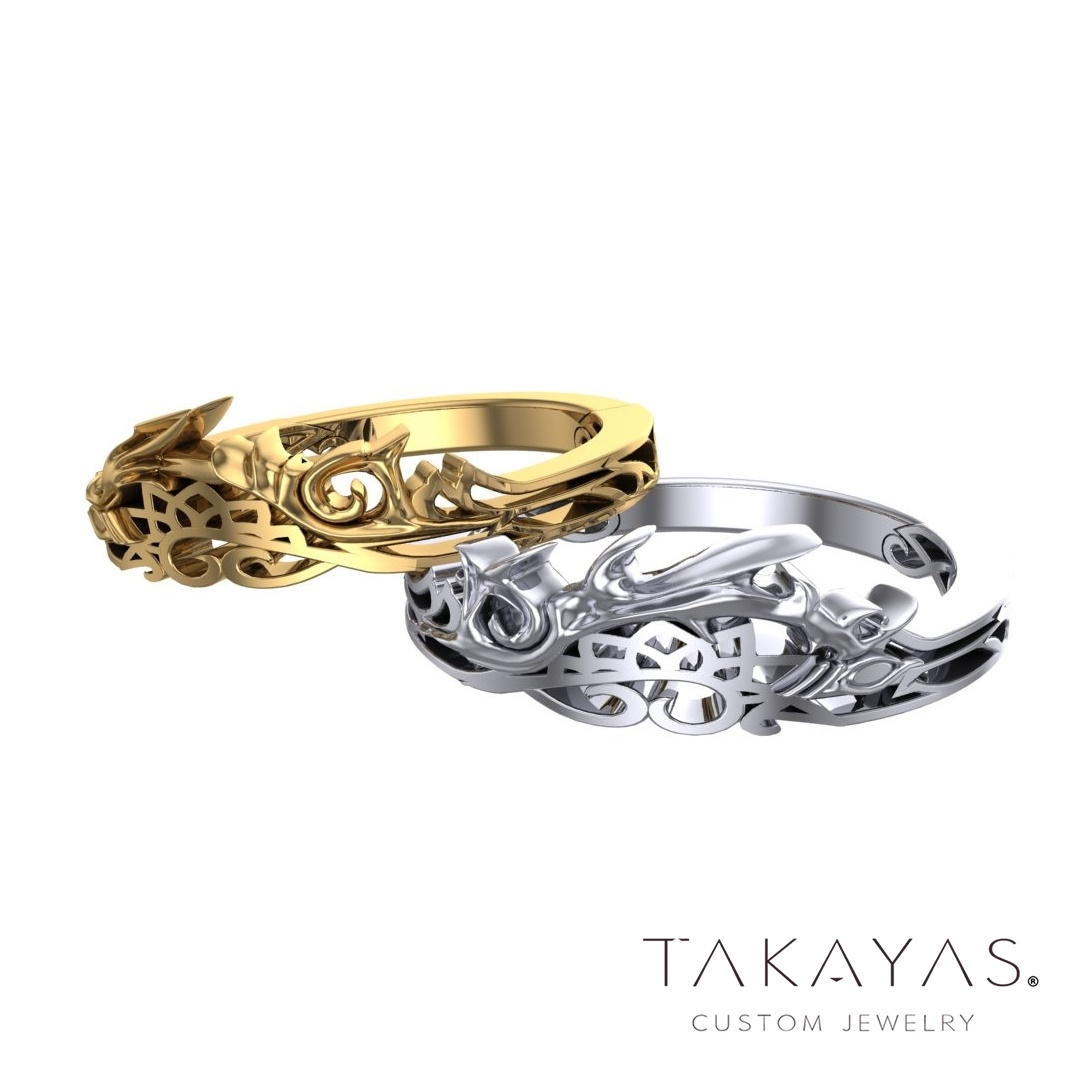 Nightmare Break (aka Nightmare's End) and Mirage Split reality shift combined keyblade Kingdom Hearts inspired wedding ring designs by Takayas Custom Jewelry