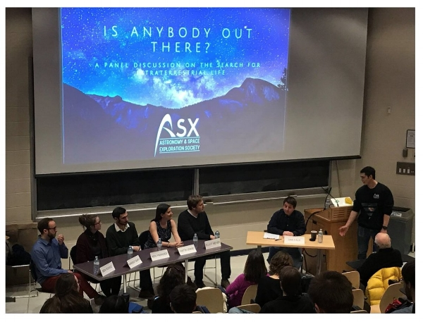 University of Toronto ASX Panel Discussion: Is Anybody Out There?  Ben K. D. Pearce (far left) and panel discussing the requirements and search for life beyond Earth. March 7th, 2018.