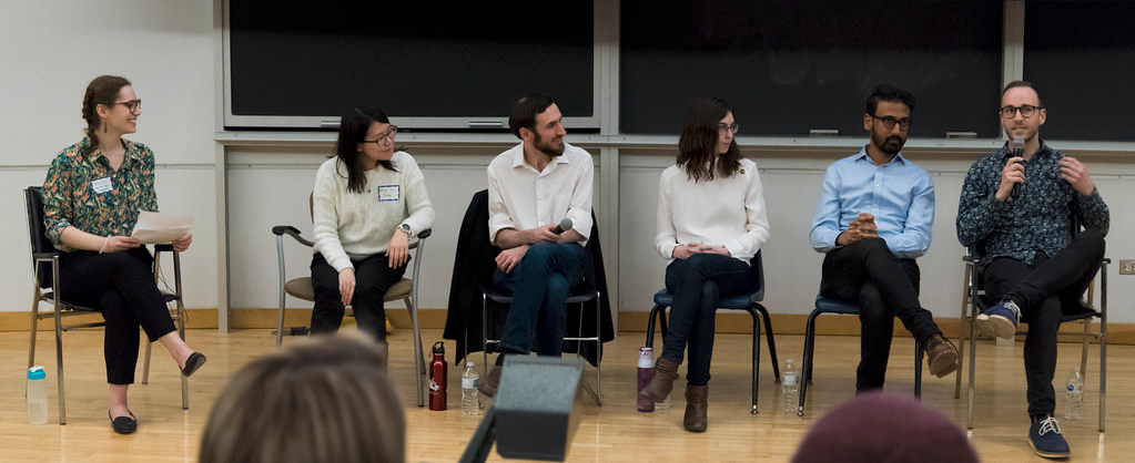 University of Toronto AstroTours Earth Hour Panel Discussion: Imagining the Earth as an Exoplanet.  Ben K. D. Pearce (far right) and panel discussing what our cosmic neighbours would see when observing Earth, as well as the potential for life on other worlds. March 30th, 2019.  Photo credit: Chris Robart.