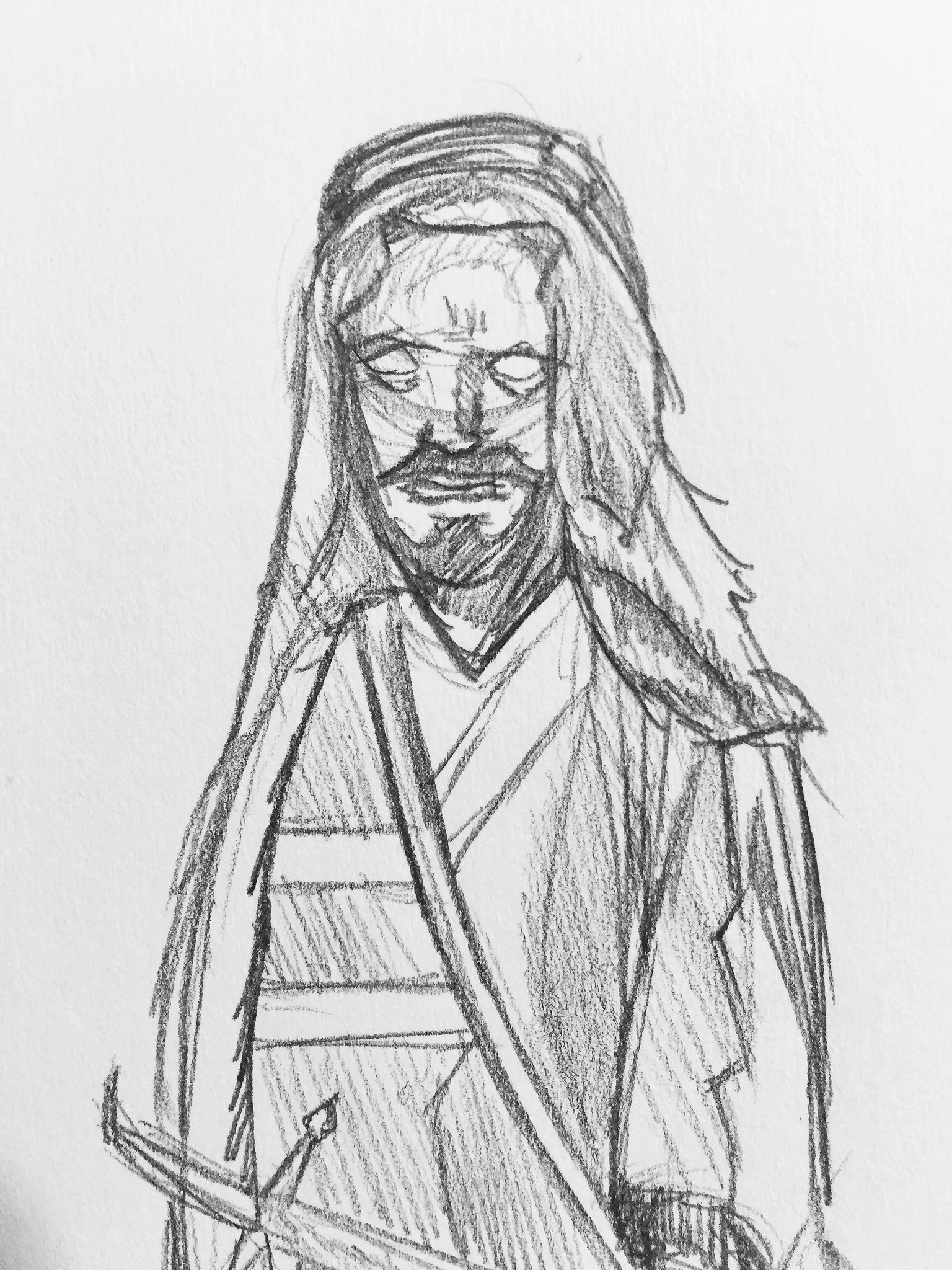 This next fellow over here is one of the desert-dwelling people in the story who worship the Gemini constellation as their twin deities. He looks a little ragged. Desert living is harsh.