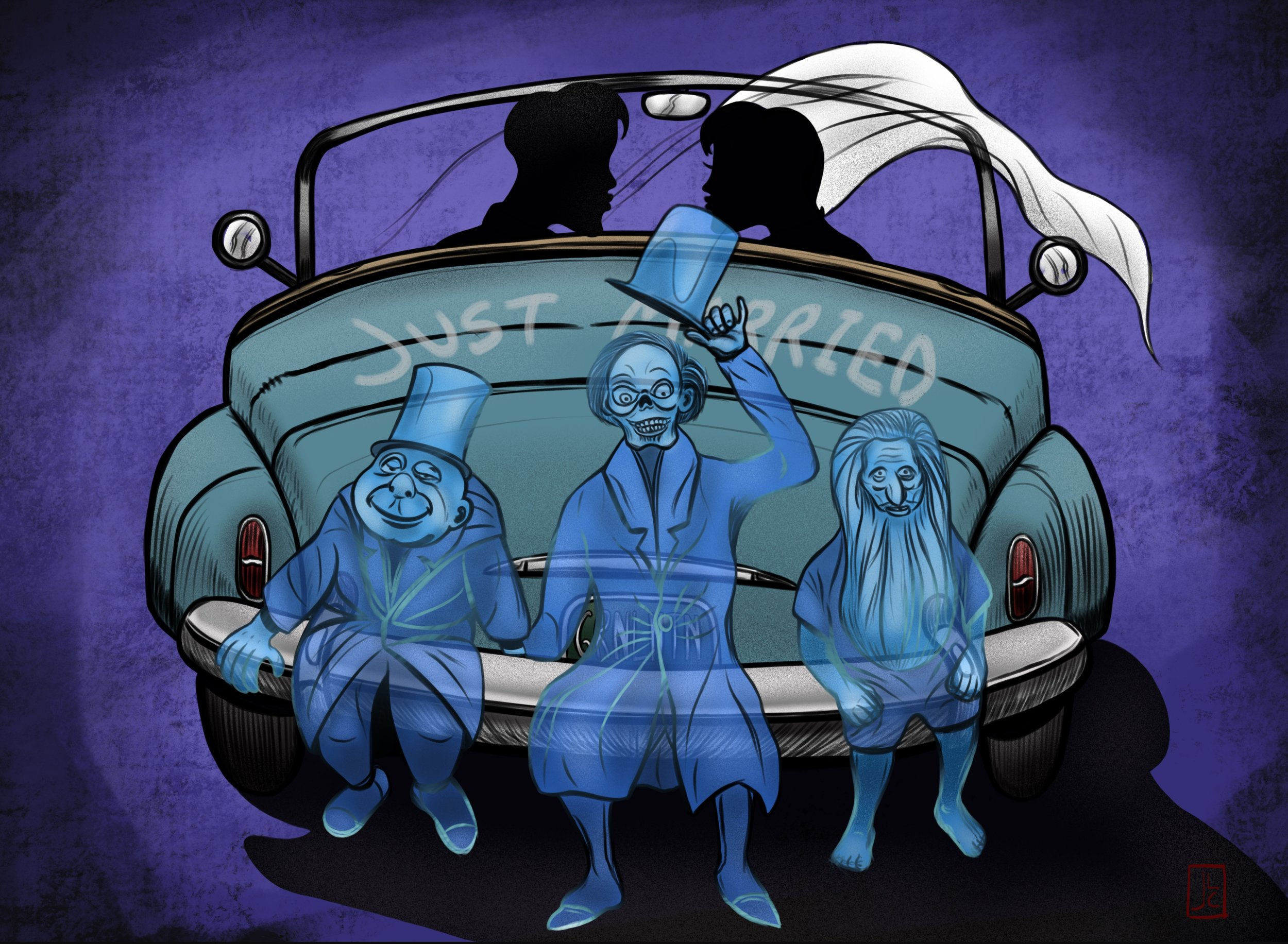 "This was a drawing I posted not too long ago that I created to commemorate getting married and our Disney honeymoon.  Jacque  was the one who came up with the brilliant idea of the  Hitchhiking Ghosts  tagging along. If you look you can see I made the license plate read, "" GRNLNTN "", in honor of Jacque's grandfather,  Mart Nodell ."