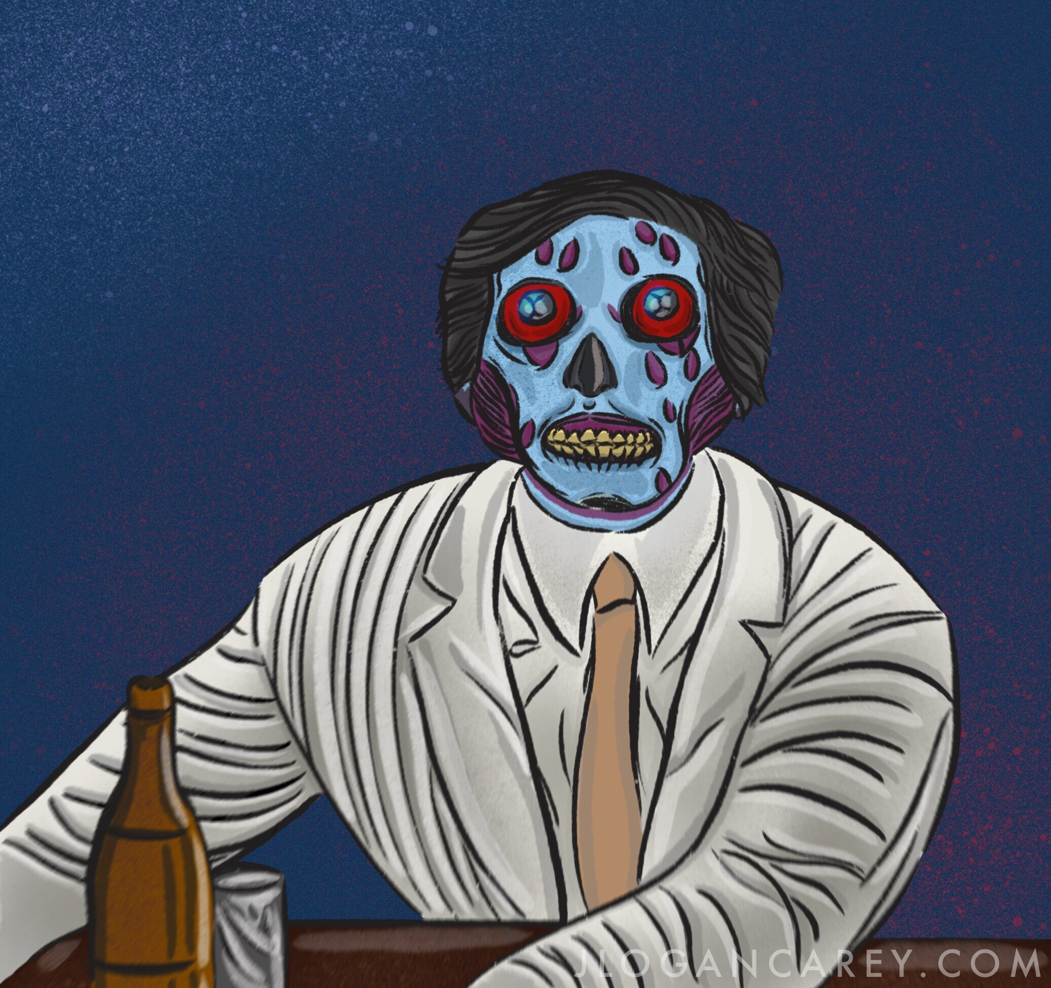 A sketch I did a while ago of the Ghoul watching TV in the bar.