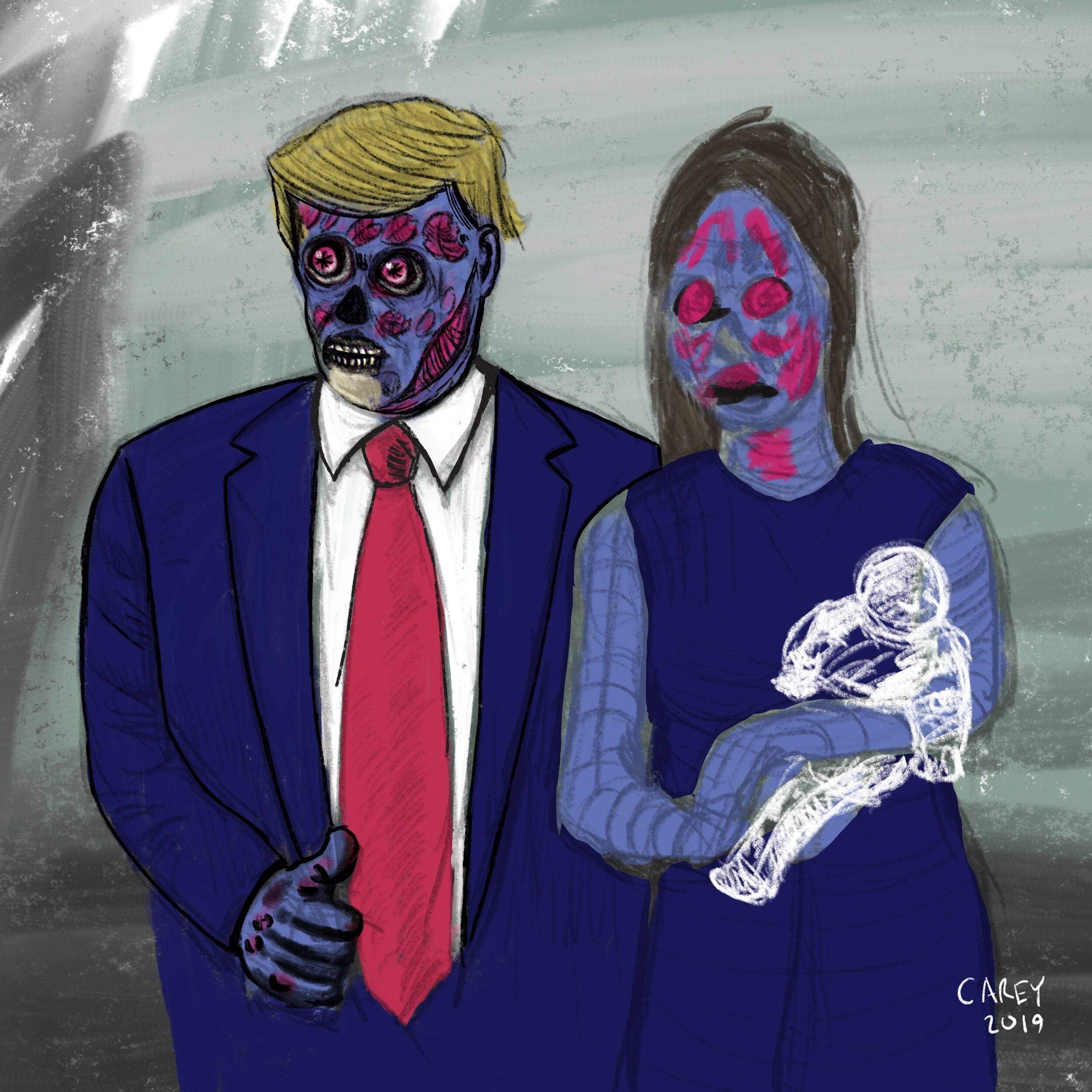 An unfinished sketch of the president and his wife using the baby of mass shooting victims as a photo op prop. True story.