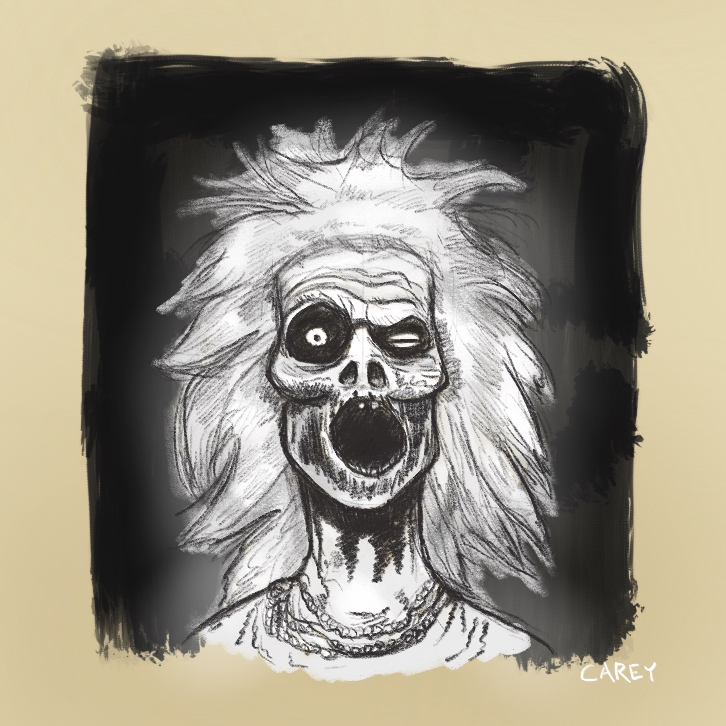A sketch of one of the ghost portraits