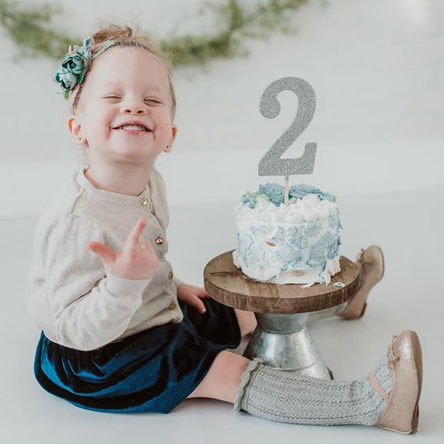 """Happpppyy Birthday to our baby girl Eden! We are so happy we decided to """"try for just one more"""" you have made us complete. You are everything we needed and hoped for. 🎁🎀👧🏼🥰 #bdaygirl#cakesmash#twoyrold"""