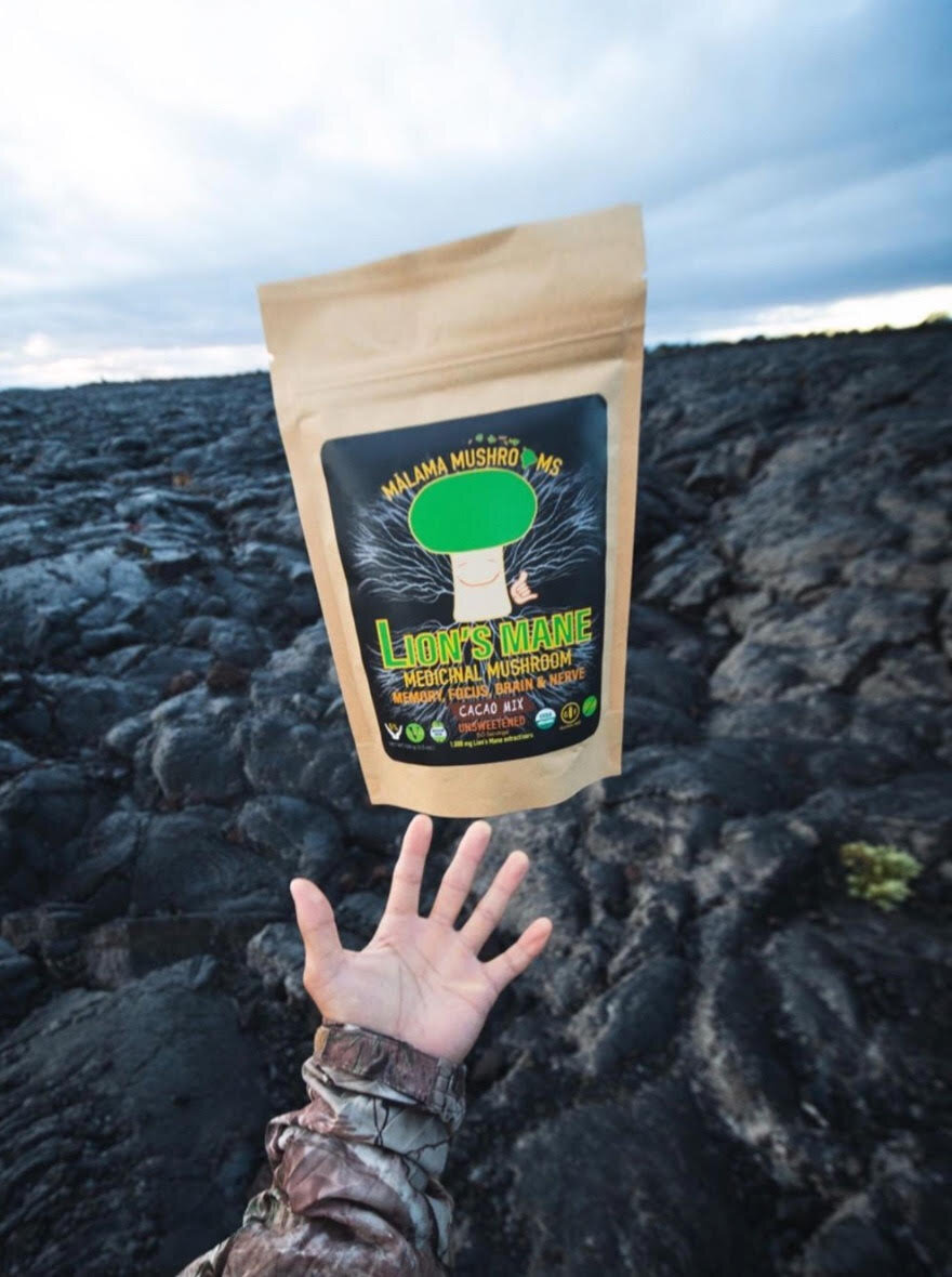 Lions Mane mix on the lava. Photo credit to Easten Tanimoto.