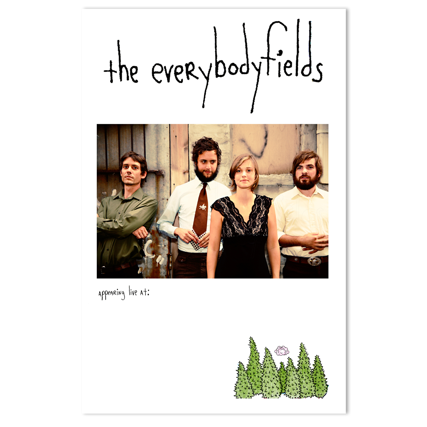 the everybodyfields Tour and Retail Poster |  Illustration by Sam Quinn, Photo by Julie Roberts