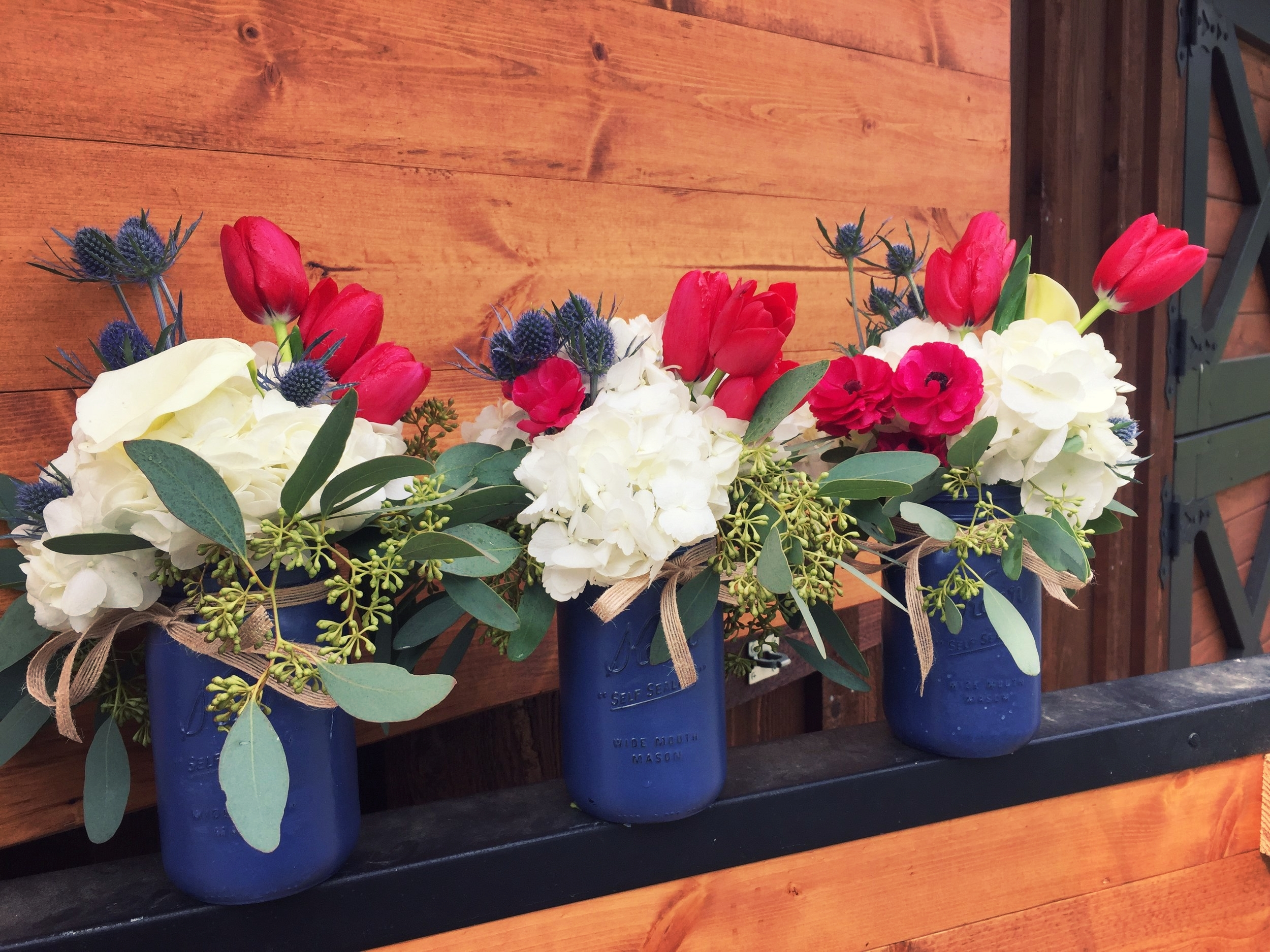 Red, white and blue Americana centerpieces.