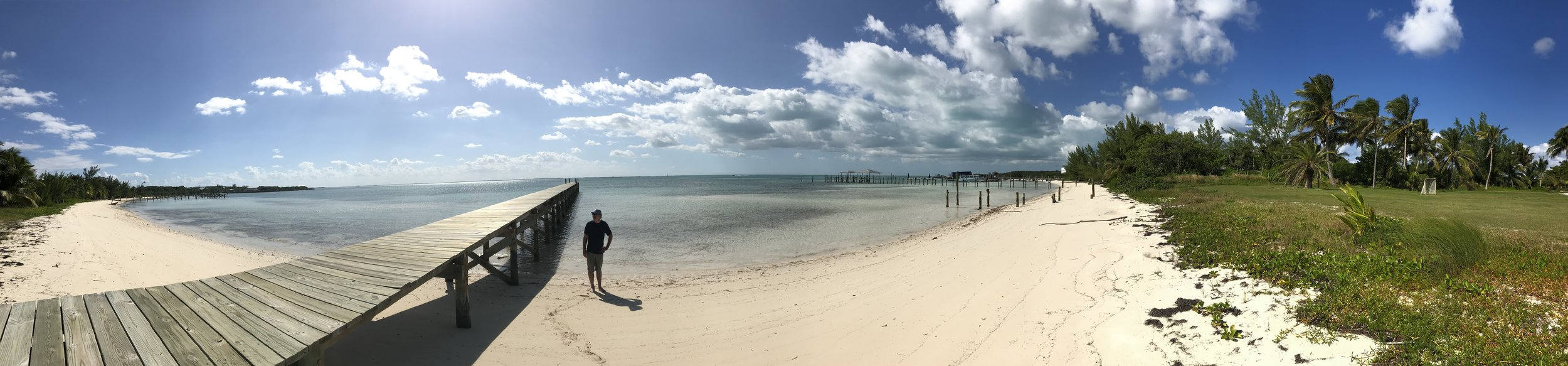 An empty beach and beautiful dock welcomed us on Great Guana Cay.