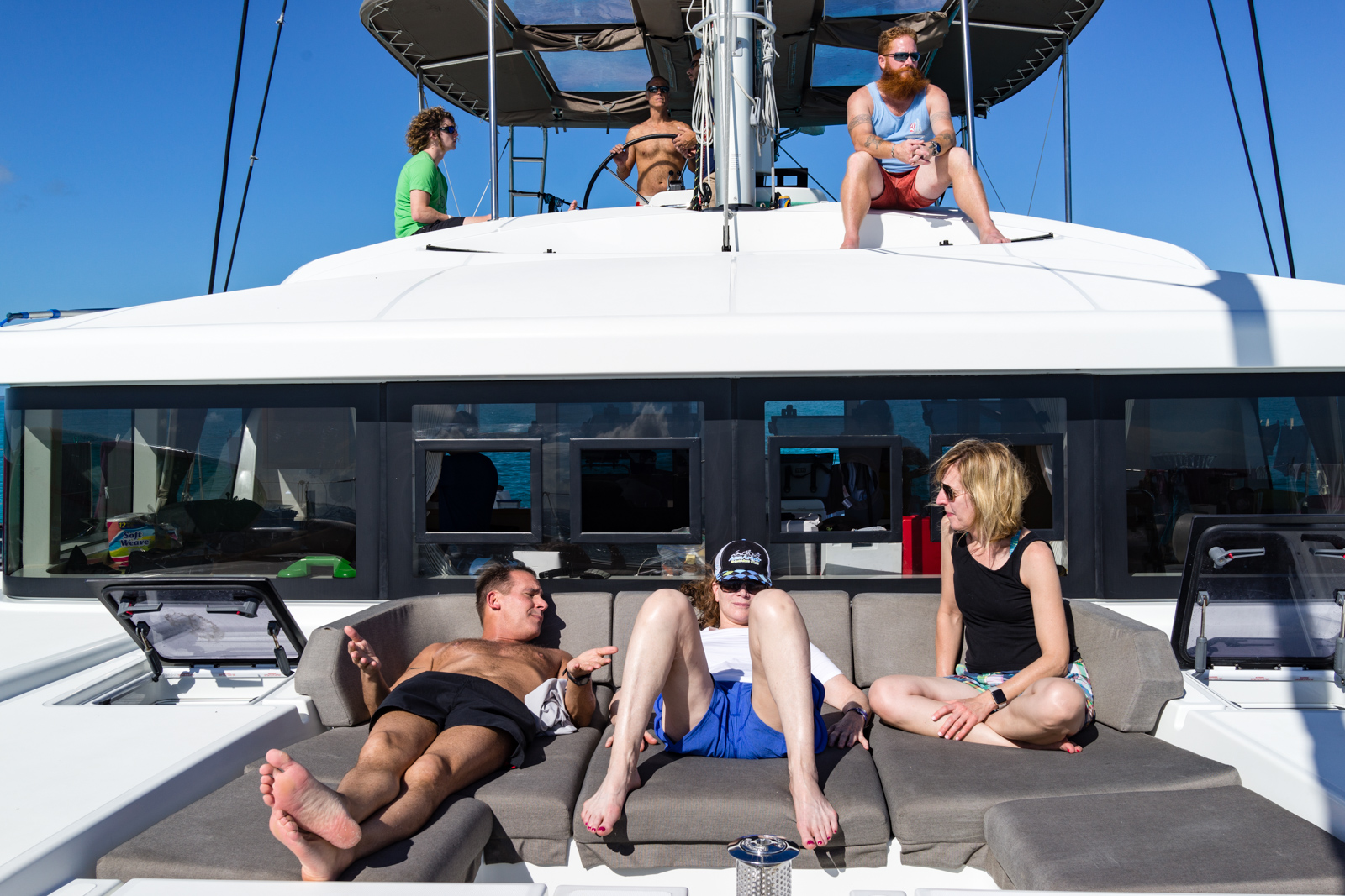 Our gang aboard the Lagoon 52. This will work just right for SwimVacation.