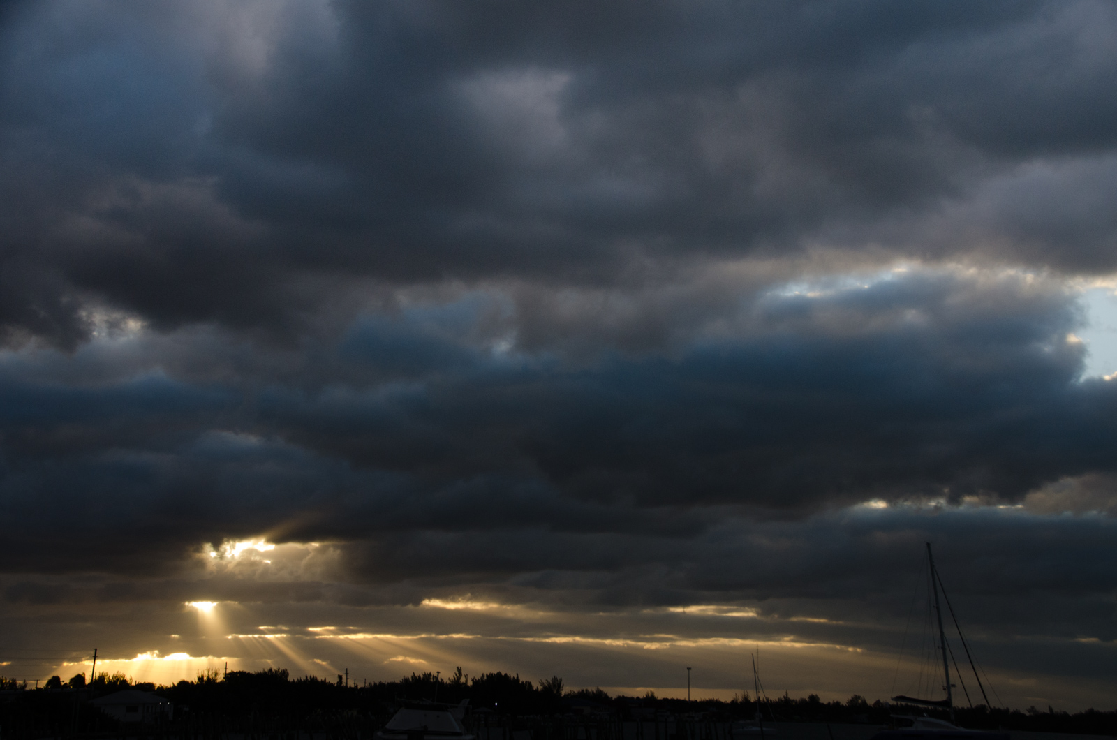 The sun put on an impressive attempt at busting through tonight's impressive cloud cover.
