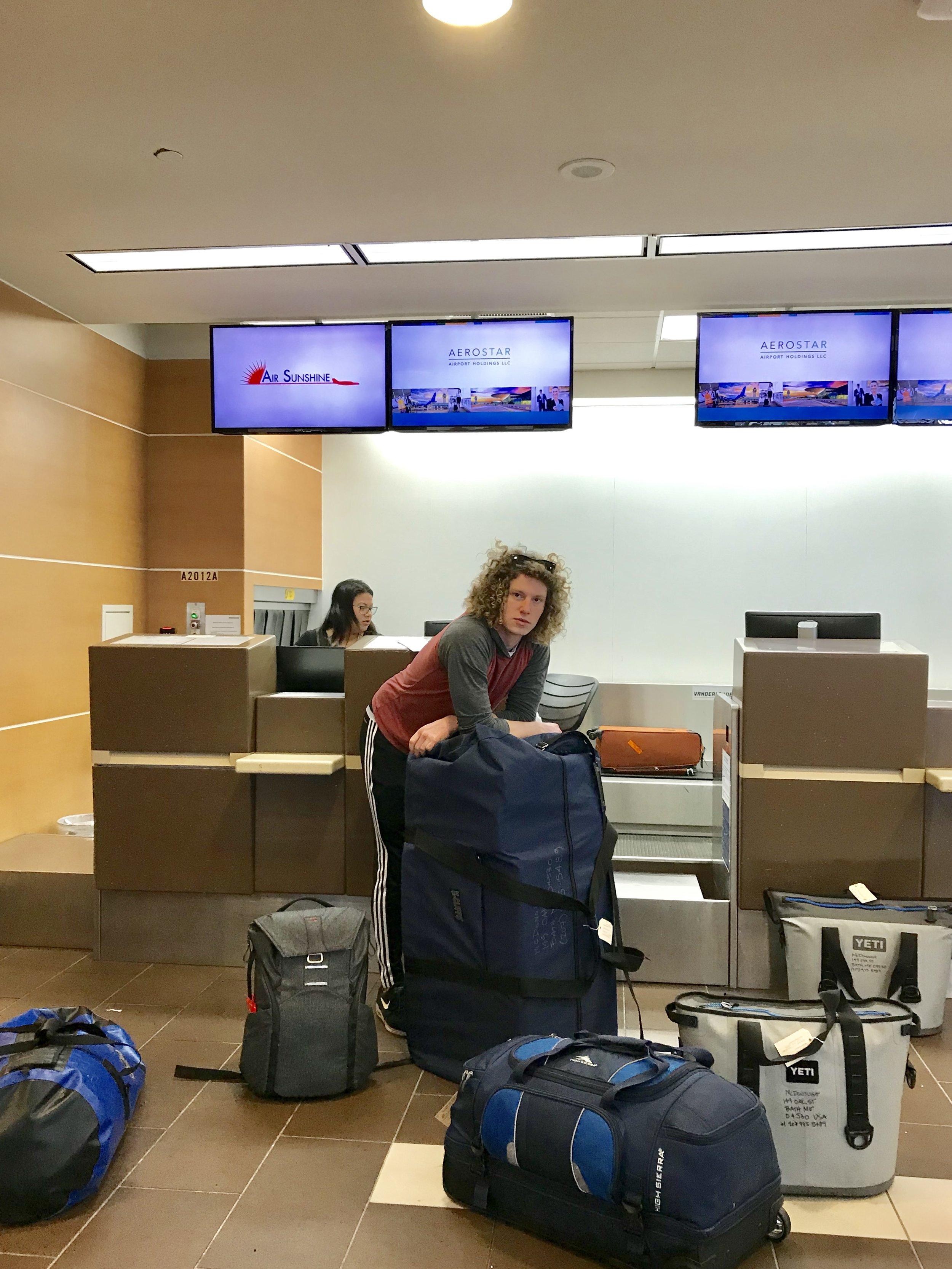 Zack & baggage, including the huge Spliterator bag.