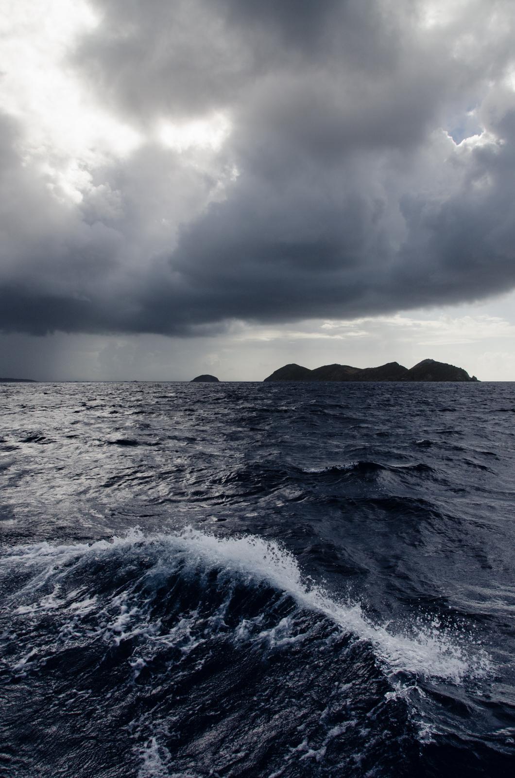 Captain Bob slid us into Virgin Gorda just behind this storm. We didn't feel a drop.