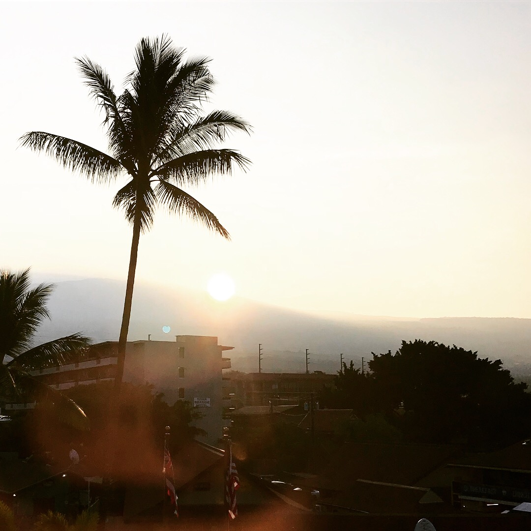 We began our day with an only slightly voggy morning in Kona.