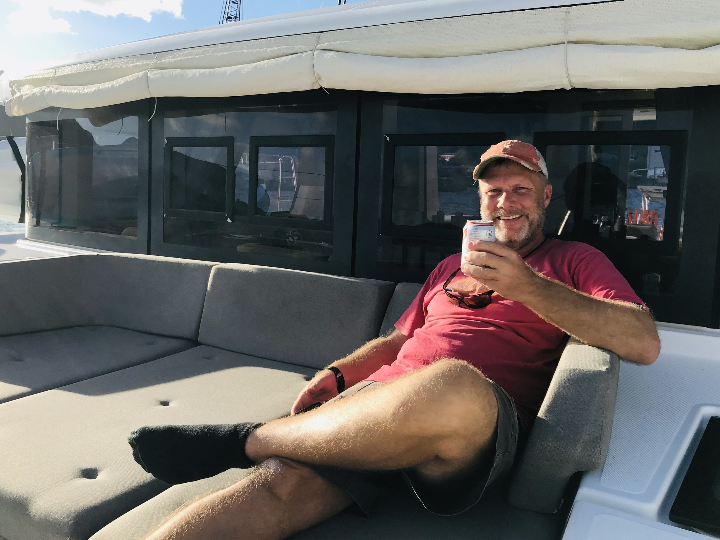 Jason taking just a minute to relax on his vessel charge for the week.