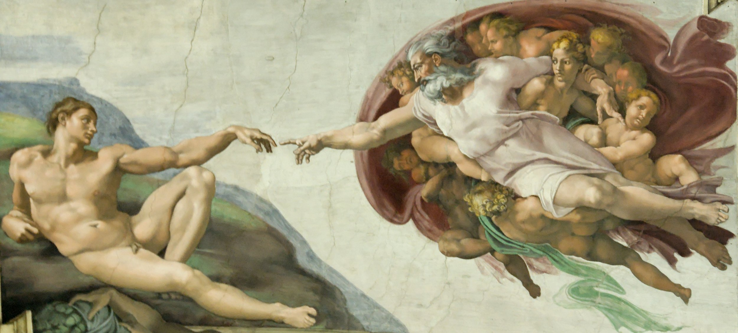 The Creation of Adam by Michelangelo / GOD represents the mind/brain