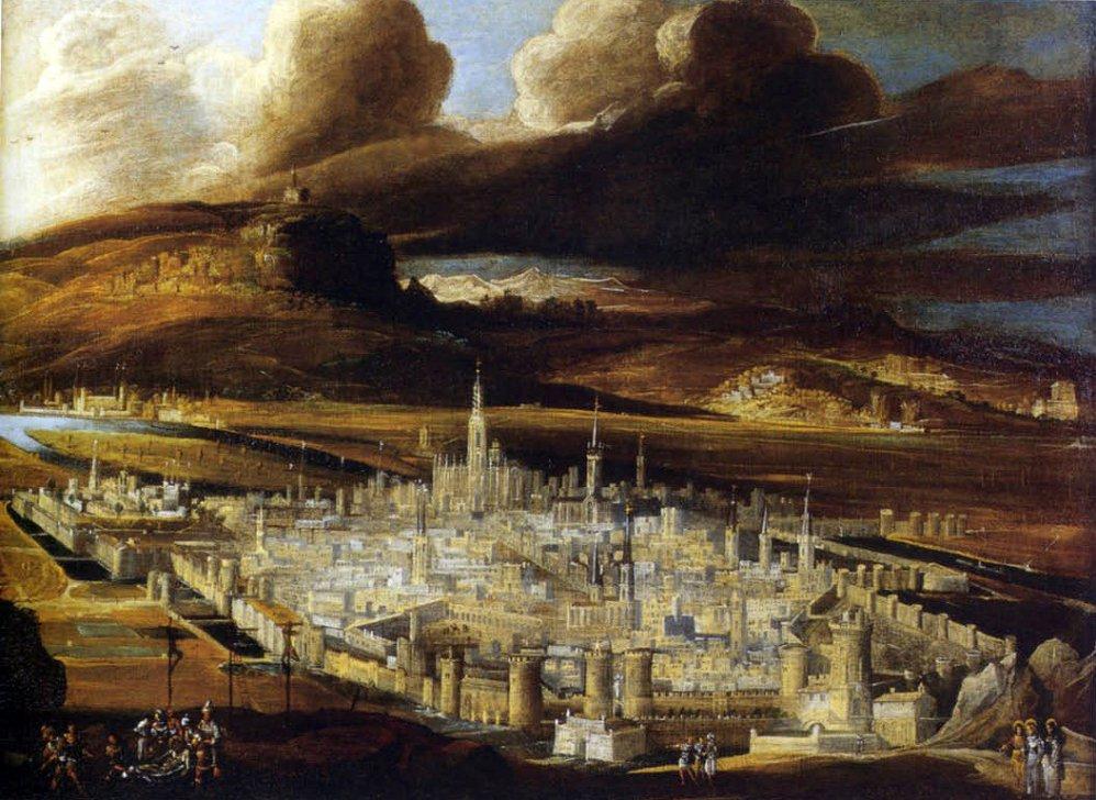 Isle of Aryan. Vue de Metz et descente de croix, Monsù Desiderio, c. 1620