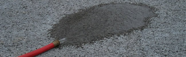 Pervious concrete... - Concrete that drains. Parking lots and paving are the most common applications.