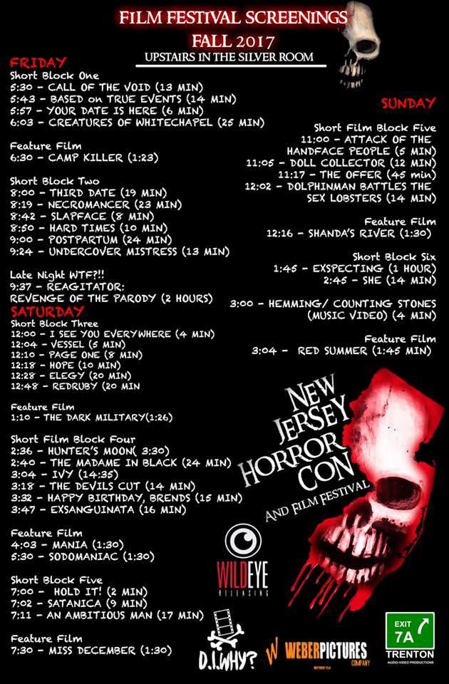 NJ Horror Con schedule