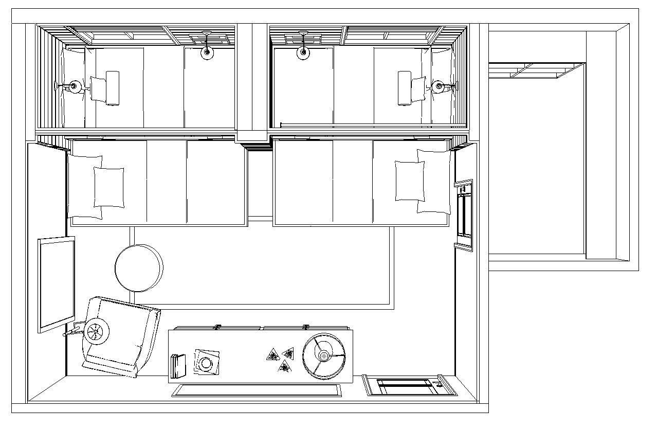 TRUNDLE BED PERSPECTIVE PLAN WITH TRUNDLES PULLED-OUT