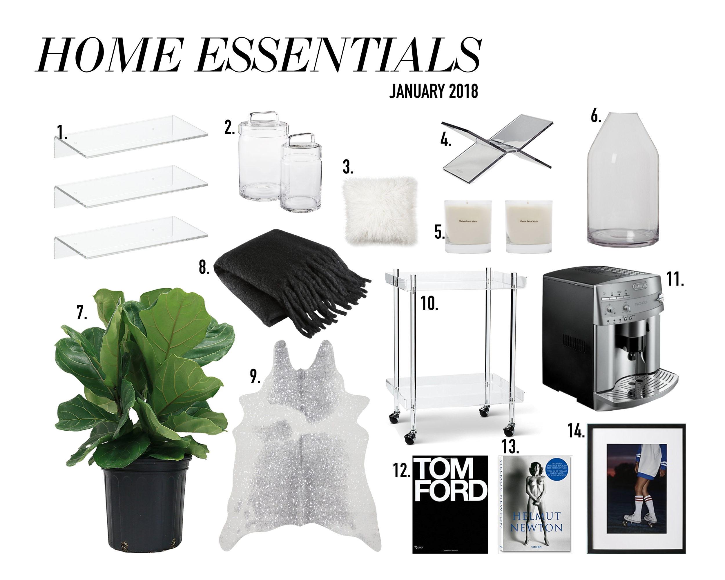 espresso machine  //  maison louis marie no. 4  //  acrylic bar cart  //  glass canisters  //  fiddle fig tree  //  print  //  fringe throw //  cowhide //  vase  //  fuzzy pillows  //  book stand //  tom ford coffee table book  //  helmut newton coffee table book  //  lucite shelving