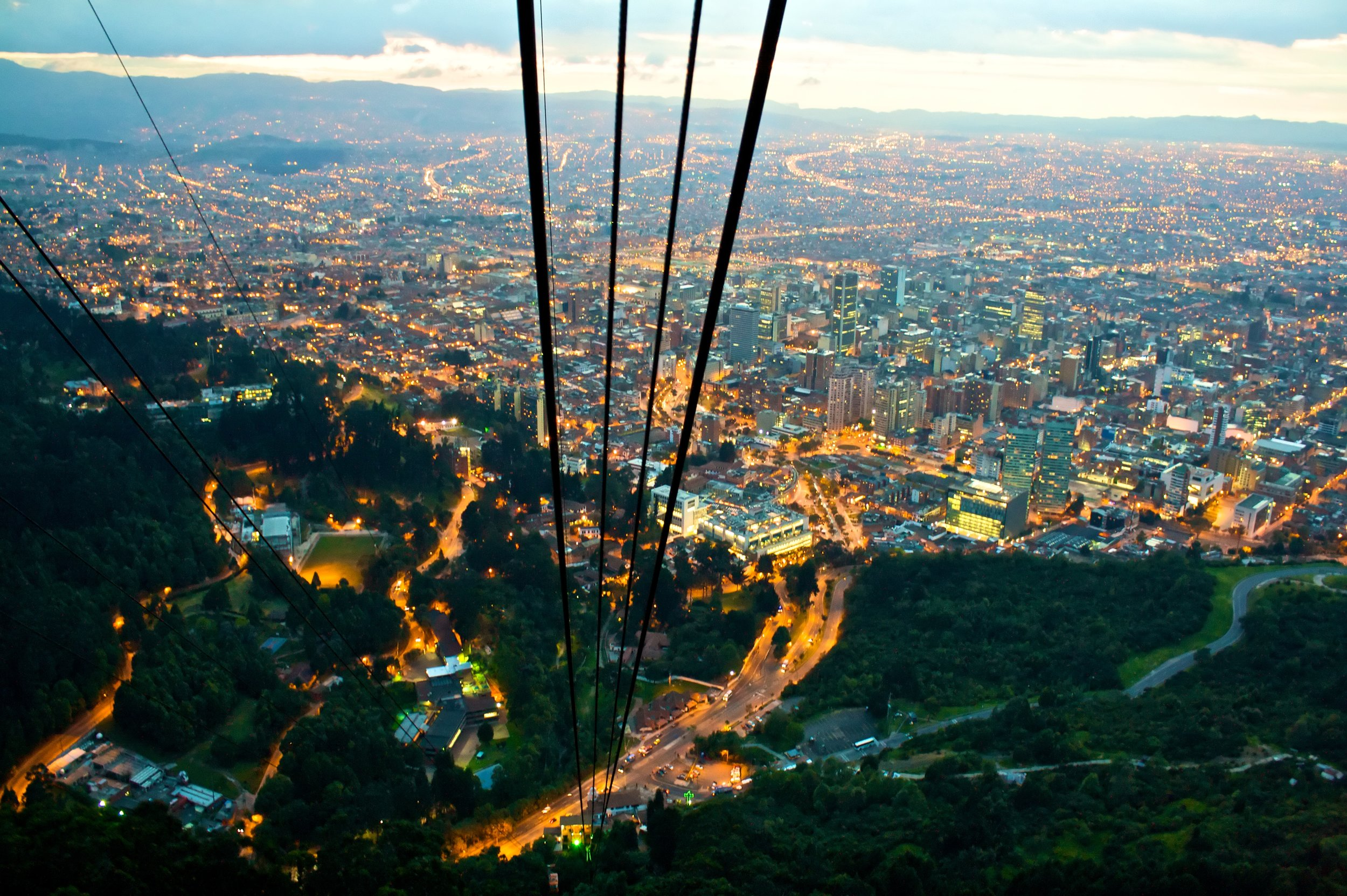 View from Monserrate Hill in Bogota, Colombia