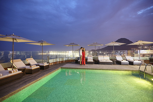 Nighttime at the Pool at Porto Bay International, Rio de Janeiro