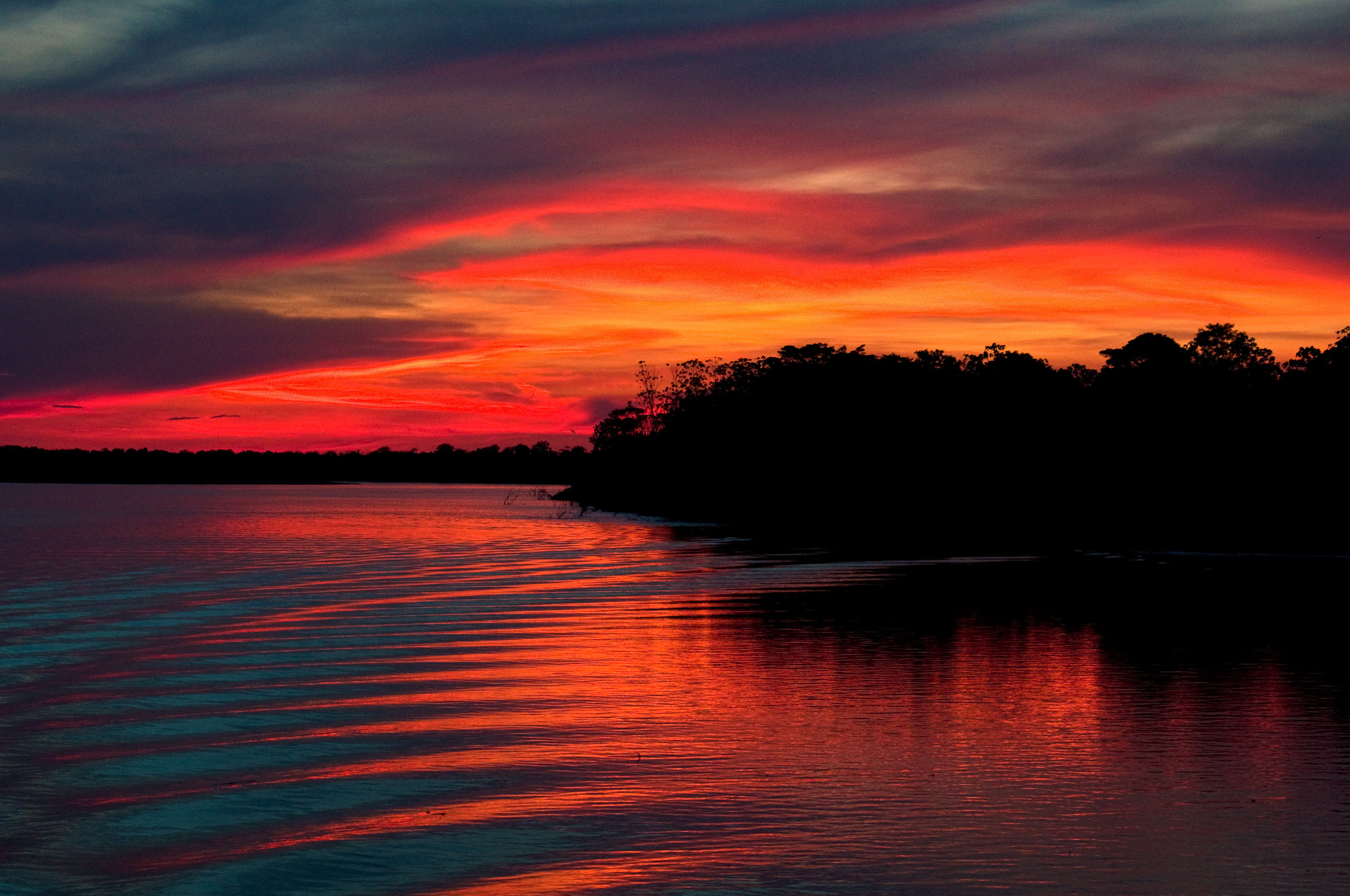 Stunning sunset views on the River in the Amazon