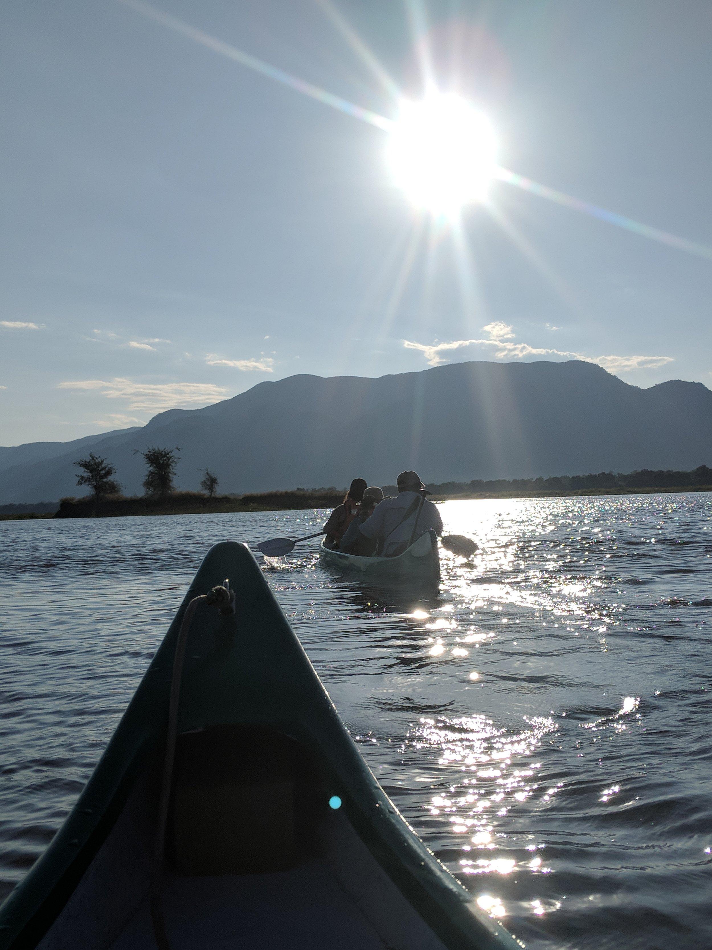 Sunset canoeing on the Zambezi