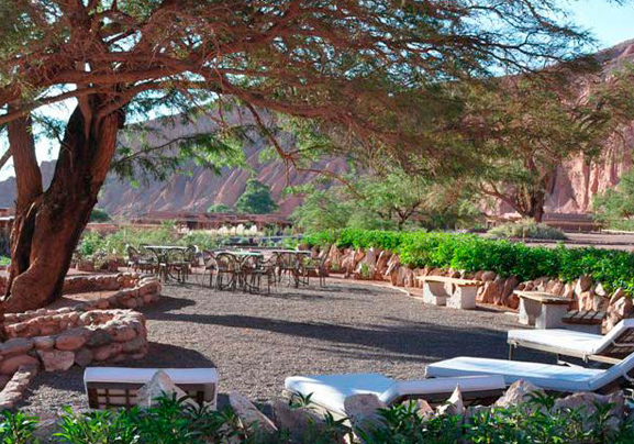 Outdoor lounge at Alto Atacama Desert Lodge & Spa