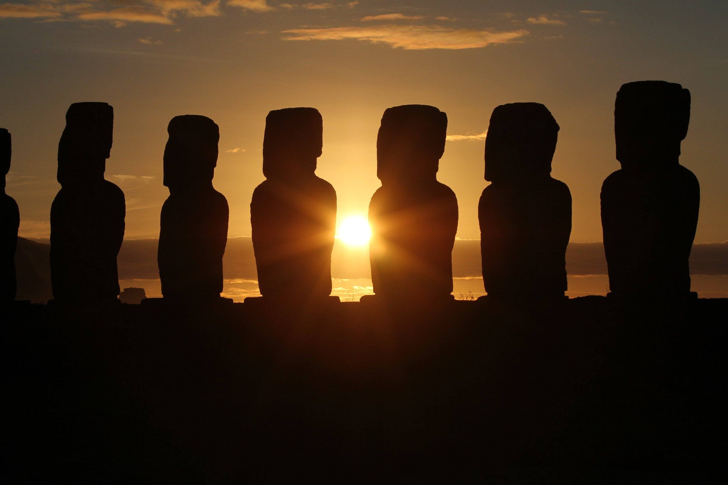 Maoi at Sunset on Easter Island