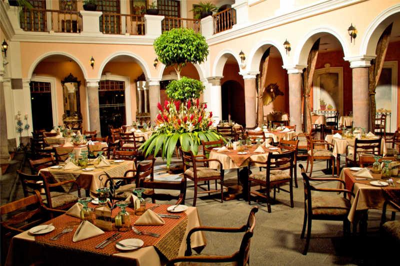 Restaurant in Patio Andaluz Hotel in Quito, Ecuador