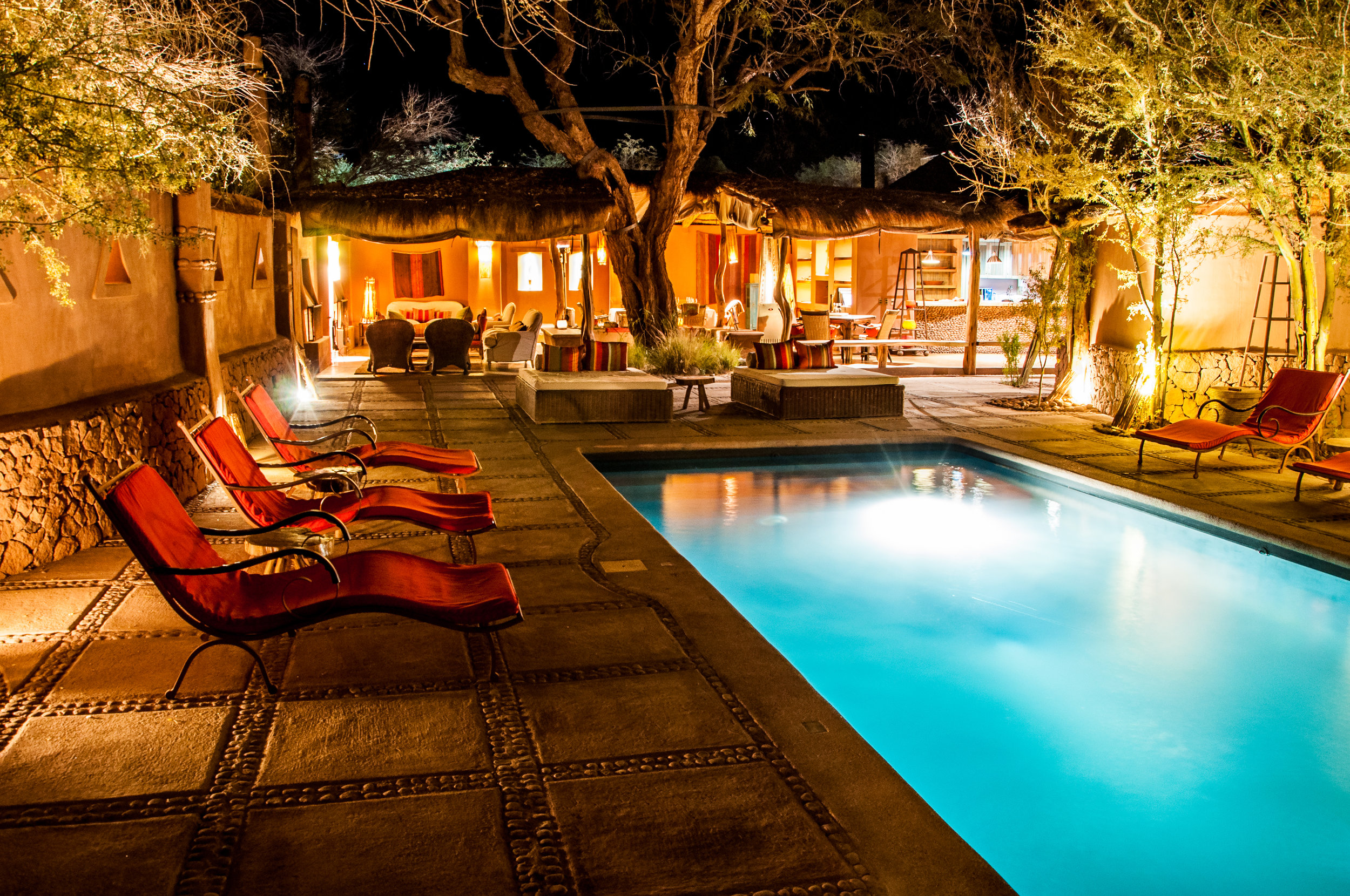 Outdoor Lounge by the Pool at Awasi Atacama, Chile