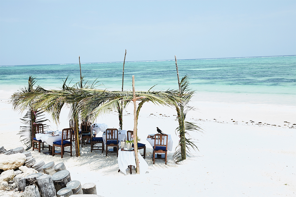 Lunch on the beach in Zanzibar at The Palms Hotel