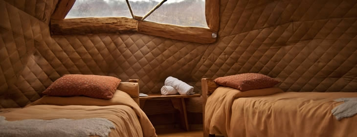 Twin accommodations at eco Camp Patagonia, Chile