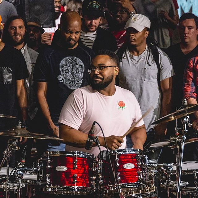 Welp they didn't get me when I was oh the kit, but they got me looking at my boy @vwillxdrums with that music stank face while he was doin' his thing at the @jammcard #jammjam - So much amazing talent in one room!