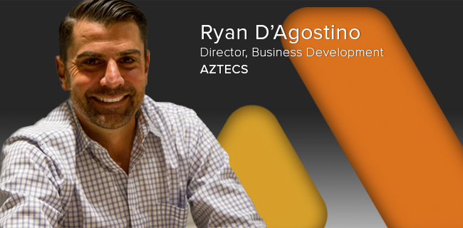 NEW HIRE ANNOUNCEMENT -Director of Business Development   IRVINE | August 21, 2017 - Aztecs is pleased to announce and welcome Ryan D'Agostino as its new Director of Business Development.Ryan will be responsible for leading Aztecs' sales, marketing, and customer support efforts and for ensuring that Aztecs meets the specific needs of each of its customers.