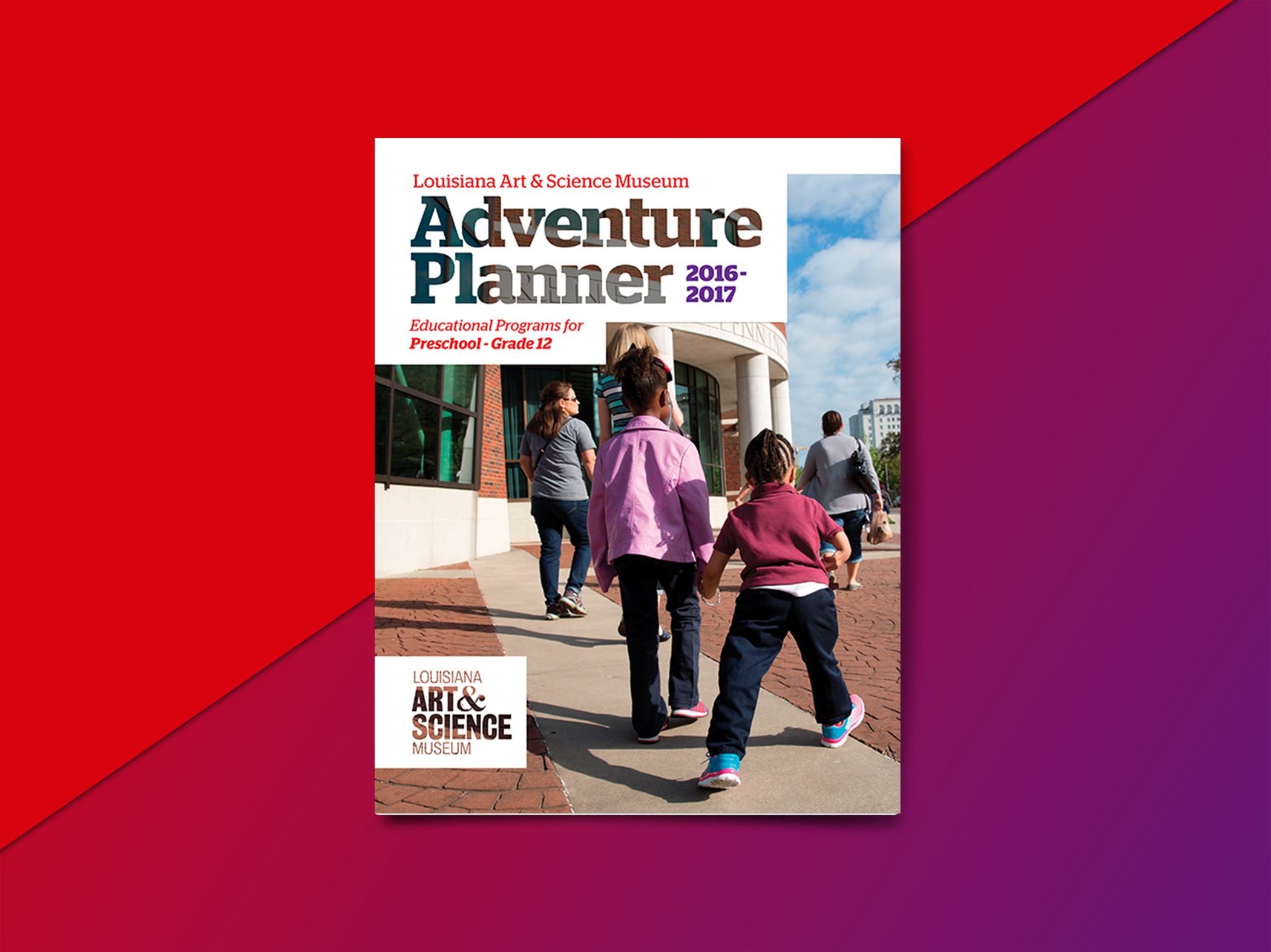 LASM Adventure Planner - Louisiana statewide brochure for the Louisiana Art and Science Museum. The Adventure Planners were primarily sent to teachers and professors across the state of Louisiana to inform them of the programs, lectures, exhibits, and tours that the museum offered. Using their pre-existing branding created by creative agency Tilt, I used their typefaces, gradient overlays, interesting use of geometric shapes and grid structure. Organization was key as well as quickly being able to find important information.