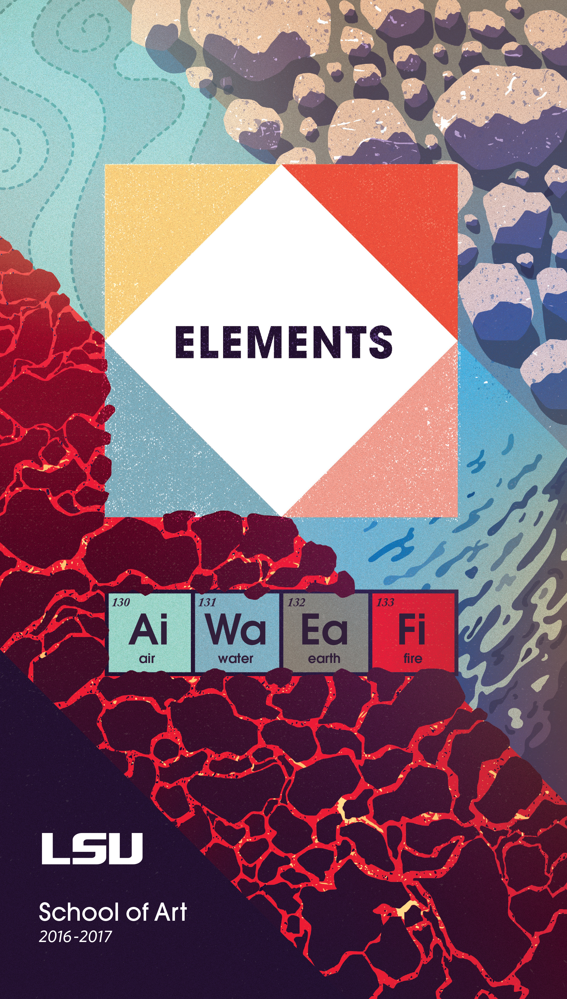 Elements - The invited artists and scholars approach the theme of Elements in diverse ways that include examinations of elemental forces at play in nature and politics.The topic for the series changes every year, and for the 16/17 year it was elements. The board of directors was open as to what approach could be taken so I merged the ancient concept of earth, wind, water, and fire with the concept of the periodic element table. The physical elements were used as illustrative devices while the periodic table was used for typographic detail processes and movements.