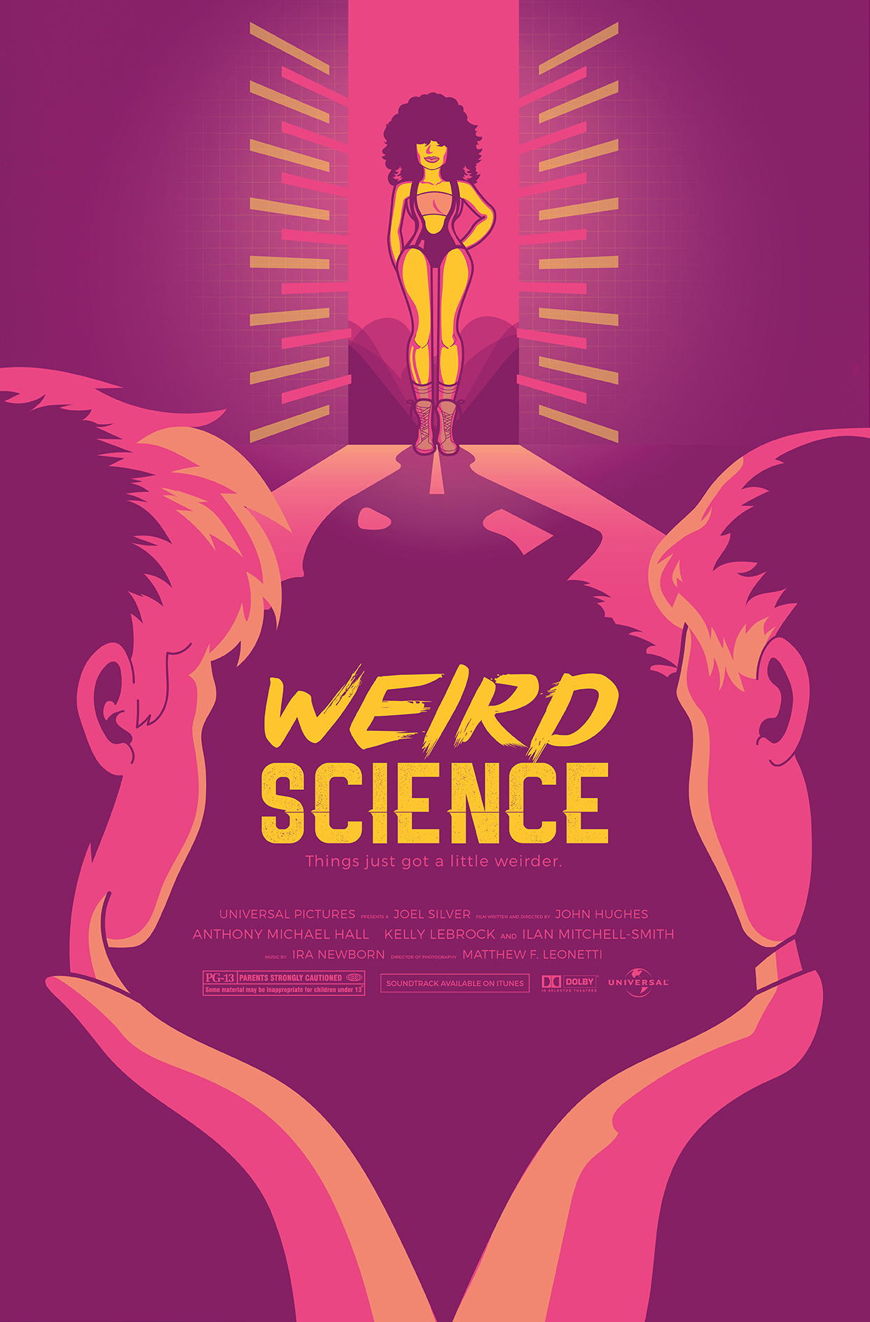 Weird Science Movie Poster - I was given an 80's movie at random. The concept was to incorporate iconic imagery from the movie while keeping a 3 spot color maximum. While I disagreed with the writer's oversexualizing the female lead, I tried to use her sexual prowess to emphaszie her power, and mystery rather than weaken through oversexualization.