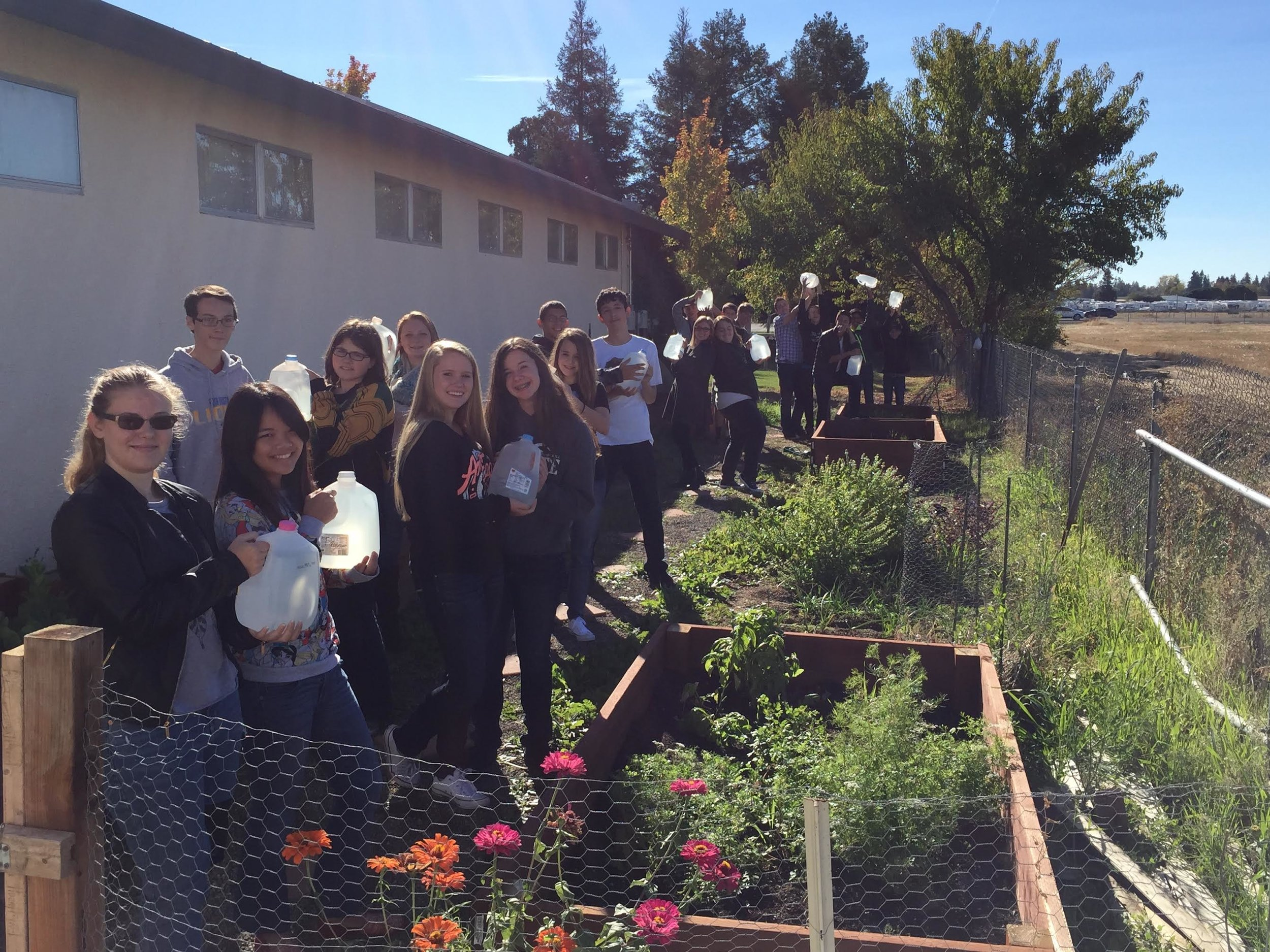 Freshman Health class planted a garden and collected wasted shower water as a project