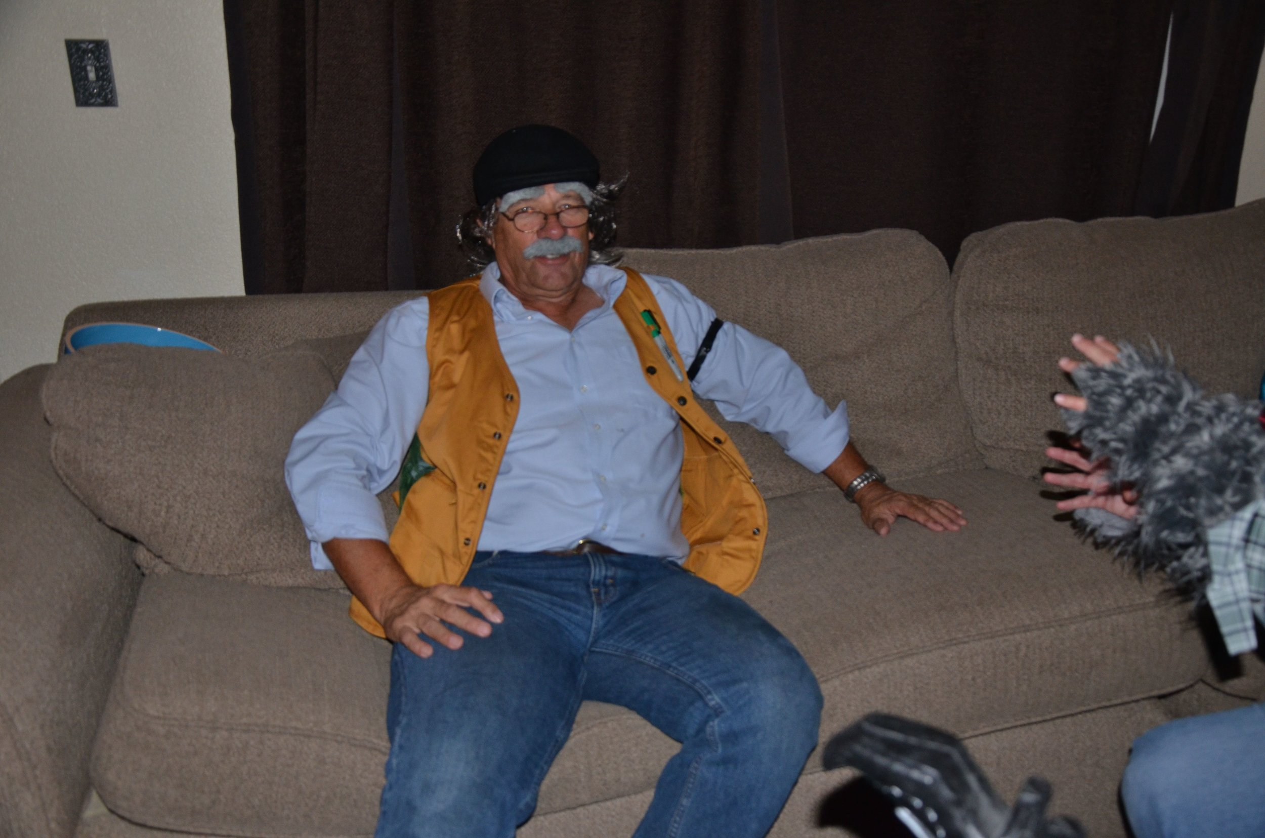 My dad dressed as Evil Geppetto. He always embraces our craziness!