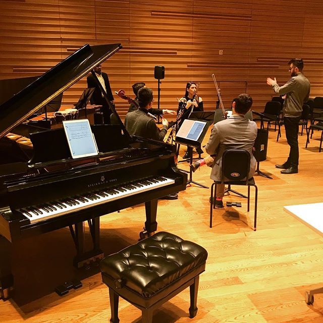 #tbt to talking about important things in rehearsal 😯👋🏼 #aotaensemble #newmusic #rehearsalisfun