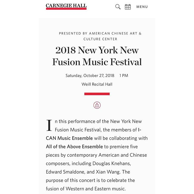 Just a little less than a month until we head back to Carnegie Hall for the New York New Music Fusion Festival! Can't wait to play some brand new music by @dknehanscomposer, Edward Smaldone, and Xian Wang! #aotaensemble #cincynewmusic #cincyarts