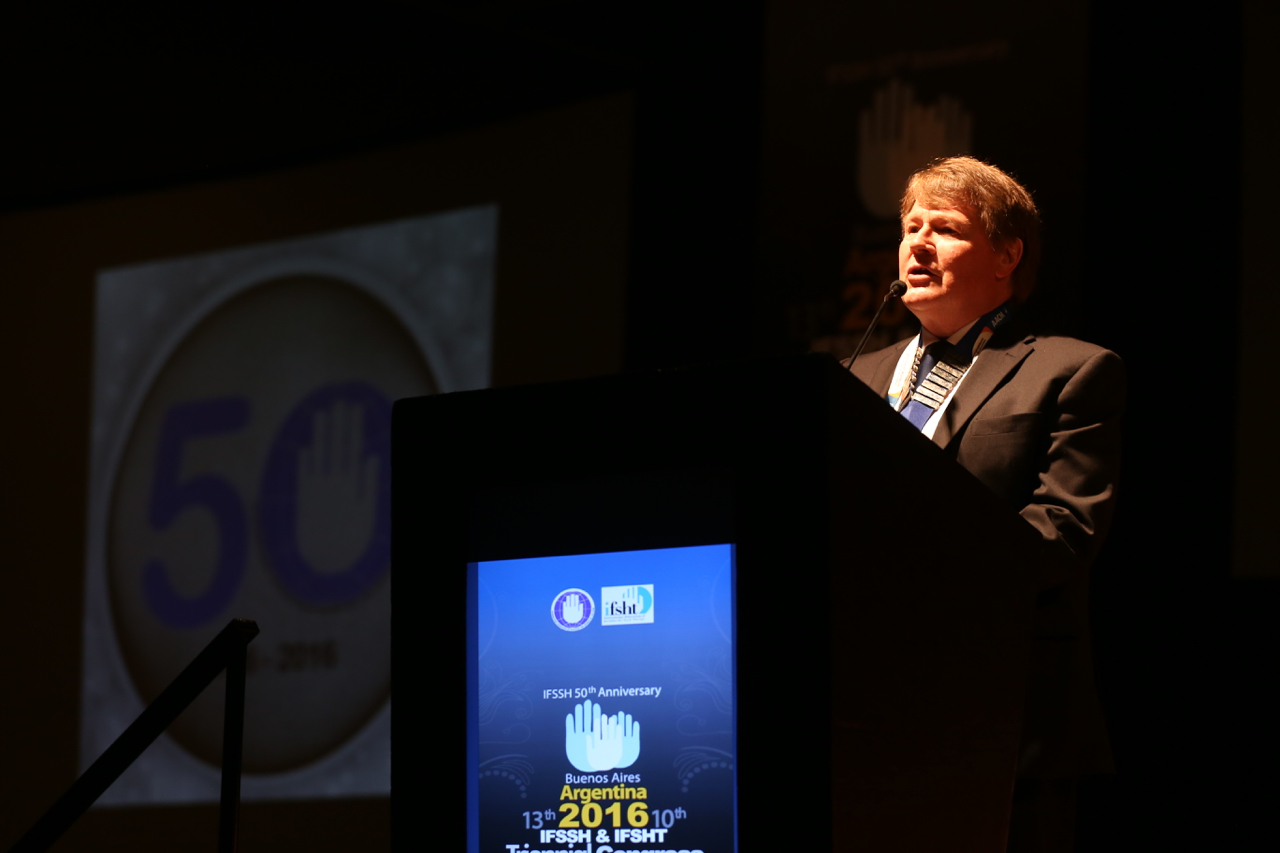 Professor Michael Tonkin delivering the Presidential Address at the 2016 triennial congress of the International Federation of Societies for Surgery of the Hand (IFSSH) and International Federation of Societies for Hand Therapy (IFSHT) in Buenos Aires.