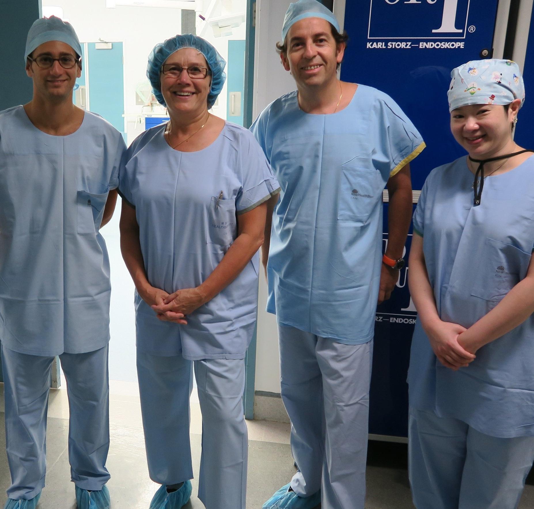 Drs Jonathan Bellity (Hand Surgery Fellow,France), Monica Wiig (Visiting Professor, Sweden), Alejandro Bifani (Visiting Professor, Chile), and Sharon Chu (Hand Surgery PFET Fellow,Australia)