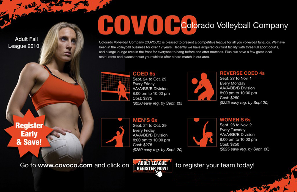 COVOCO Adult Volleyball League Postcard